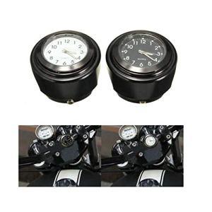Viviance Moto Vélo Guidon Mont Cadran Horloge Montre 7/8Inch 1 Pouce Universel pour Harley – Noir