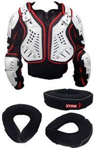 XTRM Armure de moto pour adulte avec déflecteur MX Off Road + orthèse OSFM unisexe et coudières avec protection contre les chocs pour 2020 Blanc/noir/rouge XL