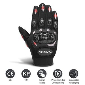 YISSVIC Gants Moto Homologué, Gants Scooter Tactile Plein-doigt Anti-Glissant Anti-Usure Taille L 23-25cm