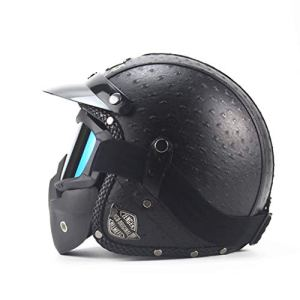Casque de protection Casque de moto, casque adulte, casque personnalité rétro, casque Harley, casque de moto (ABS + cuir) (Color : #4)