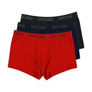 HOM, Homme, Lot De 3 Boxers Boxerlines, Noir, Bleu Marine, Rouge, XL