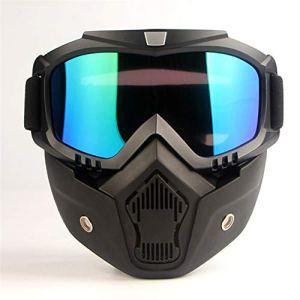MeterMall Masque de moto pour casque d'équitation Hors route extérieur militaires amateurs CS Masque de couleur vive
