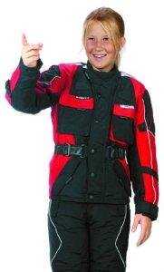 Roleff Racewear Blouson Moto pour Enfants, Noir/Rouge, M/140