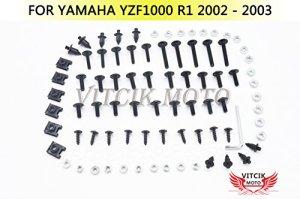 VITCIK Kits de boulons pour moto Yamaha YZF1000 R1 2002 2003 YZF 1000 R1 02 03 attaches aluminium CNC (Noir & Argent)