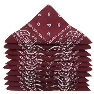 …KARL LOVEN Lot de bandanas 100% Coton paisley foulard fichu bandana – Lot de 600 Rouge bordeaux