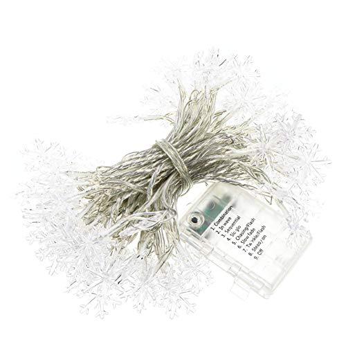 SOLUSTRE Guirlandes de Noël Guirlandes de Flocon de Neige avec Télécommande Étanche Led Guirlandes Lumineuses de Sapin de Noël pour Noël Maison Jardin Chambre (Blanc sans Batterie)