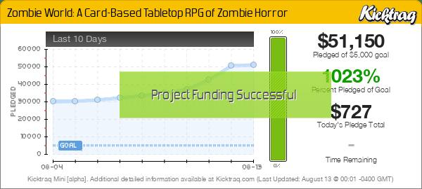 Zombie World: A Card-Based Tabletop RPG of Zombie Horror -- Kicktraq Mini
