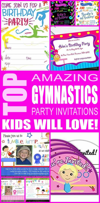 top gymnastics party invitations kids