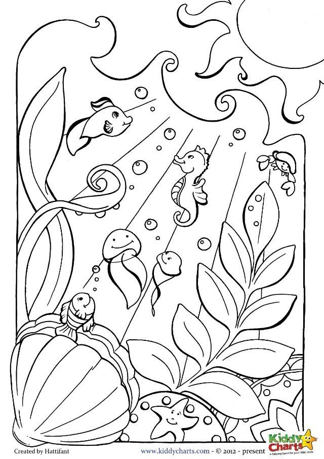 Lovely Ocean Coloring Page For Kids