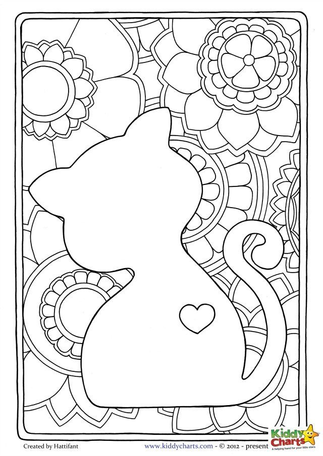 cat kids coloring page beautiful design perfect for mindful coloring