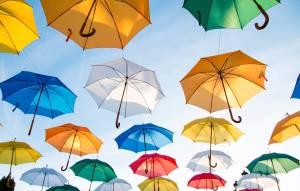 umbrellas art flying