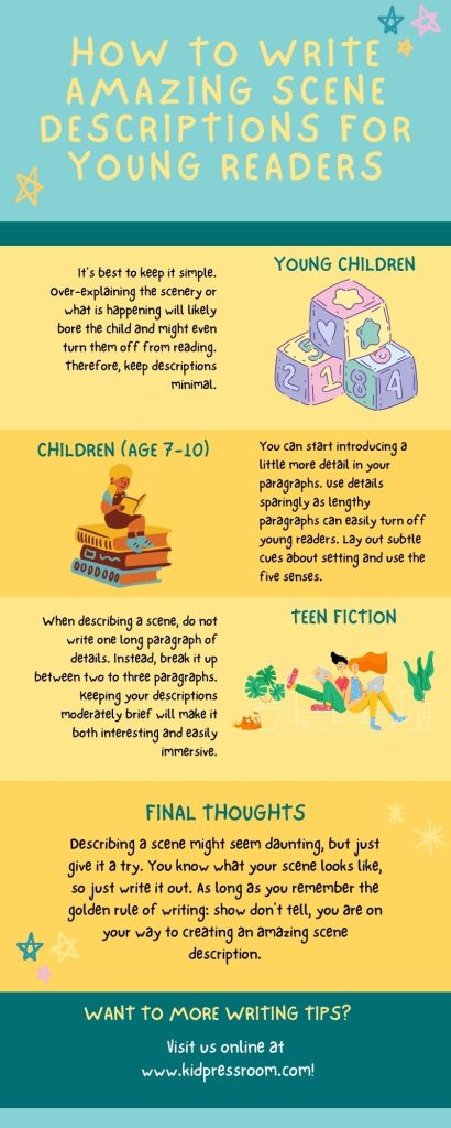 Learn to Write Amazing Scene Descriptions for the Youth Infographic - KIDPRESSROOM
