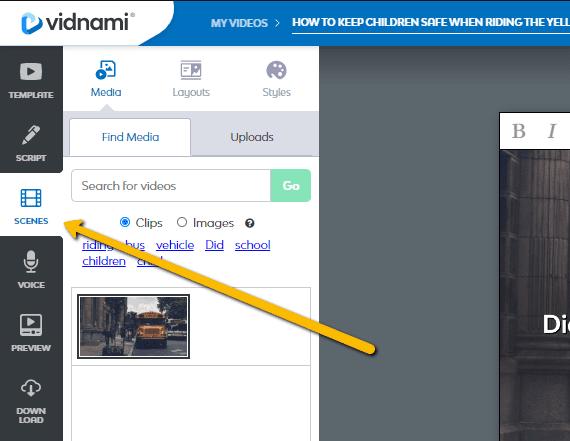 Create videos for your children's books with Vidnami create scene- KIDPRESSROOM