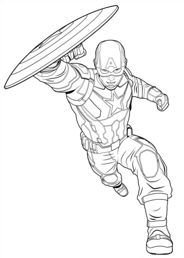 16 Coloring Pages Of Captain America