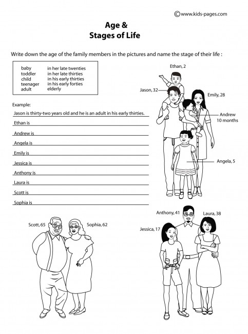 age amp the stages of life b amp w worksheets