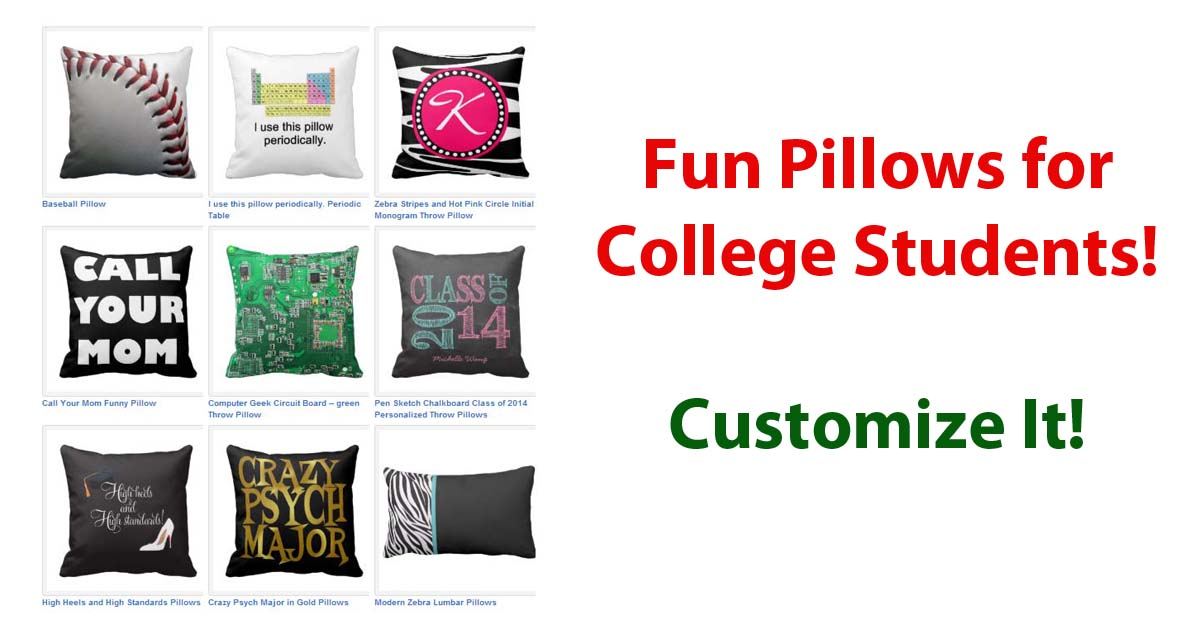 college dorm pillow kids and money