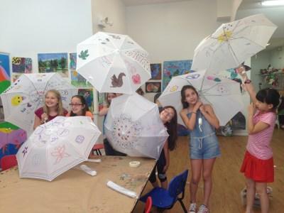 Children designing umbrellas in NYC