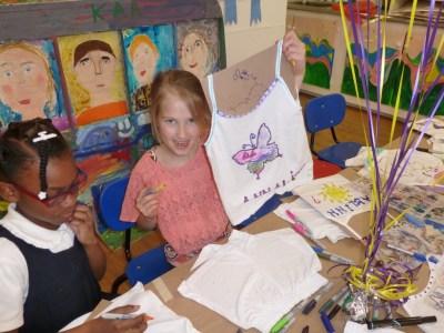 Children designing T-shirts at NYC birthday party