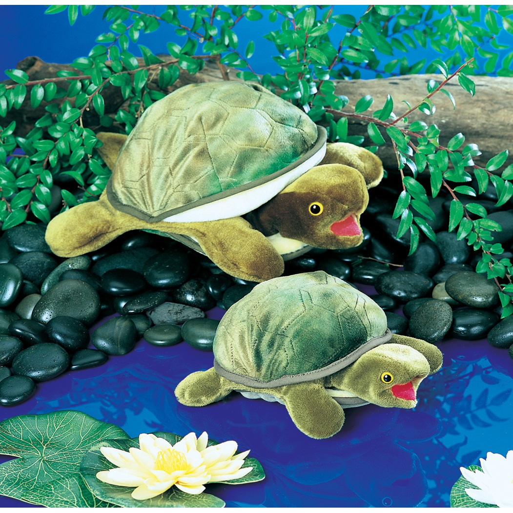 Turtle Hand Puppet With Green Body By Folkmanis Puppets