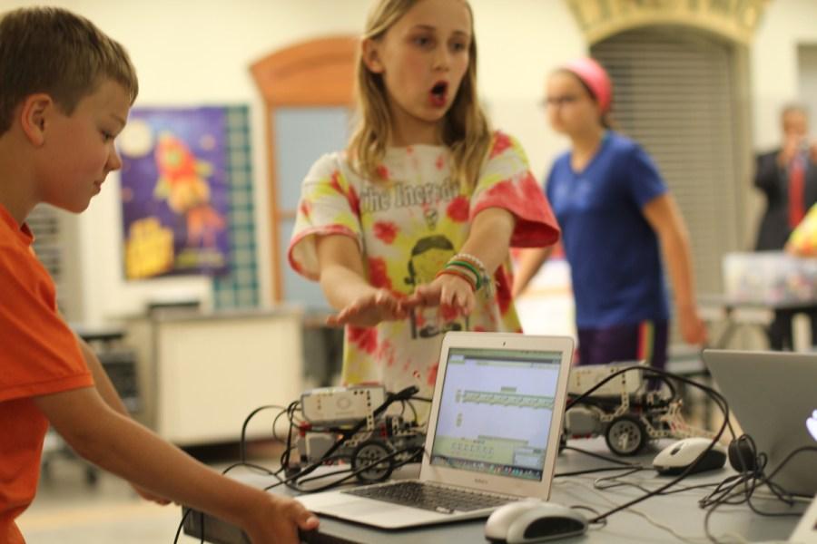 Students from Quaker Valley School District work in robotics