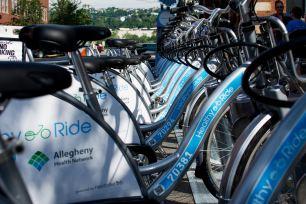 Pittsburgh Bike Share's Healthy Ride, Photo by RJ Kresock courtesy of Bike Pittsburgh