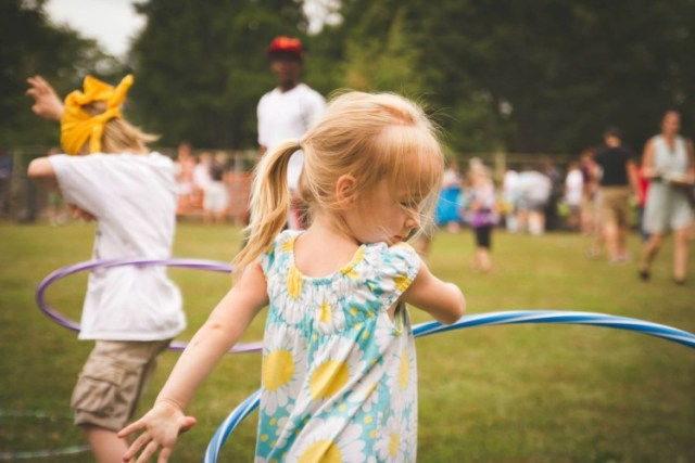 Hula hooping in Arsenal Park. Photo courtesy Lawrenceville United.