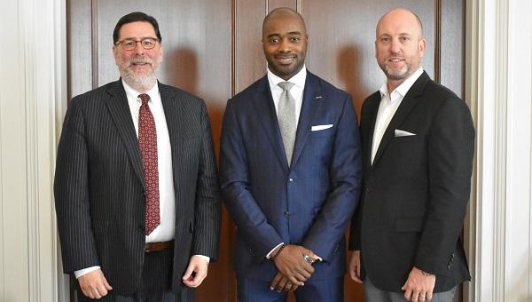 Pittsburgh Mayor Bill Peduto, Curtis Martin and Dan Towriss, CEO of Group1001