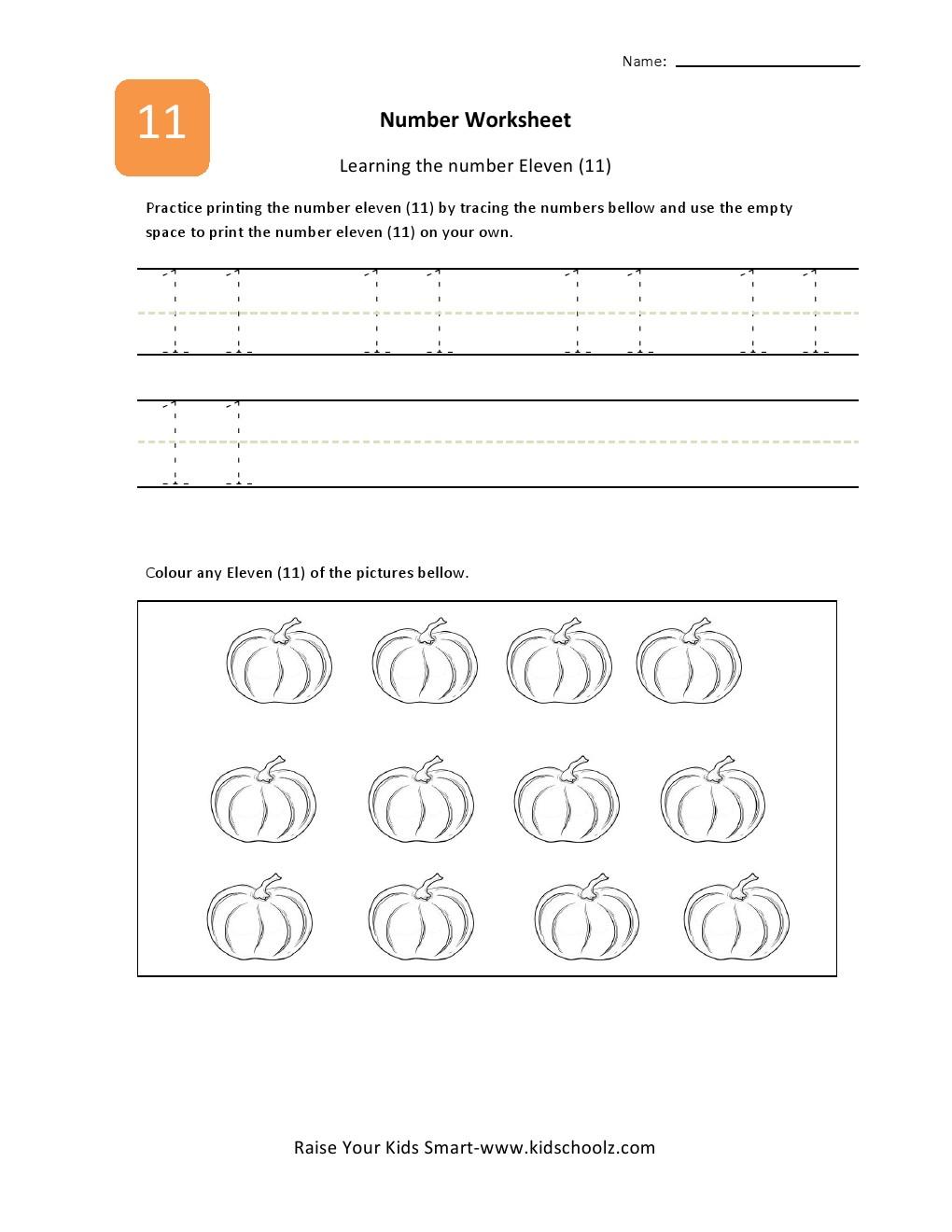 Number 11 Practice Worksheet Writing Numbers Printable