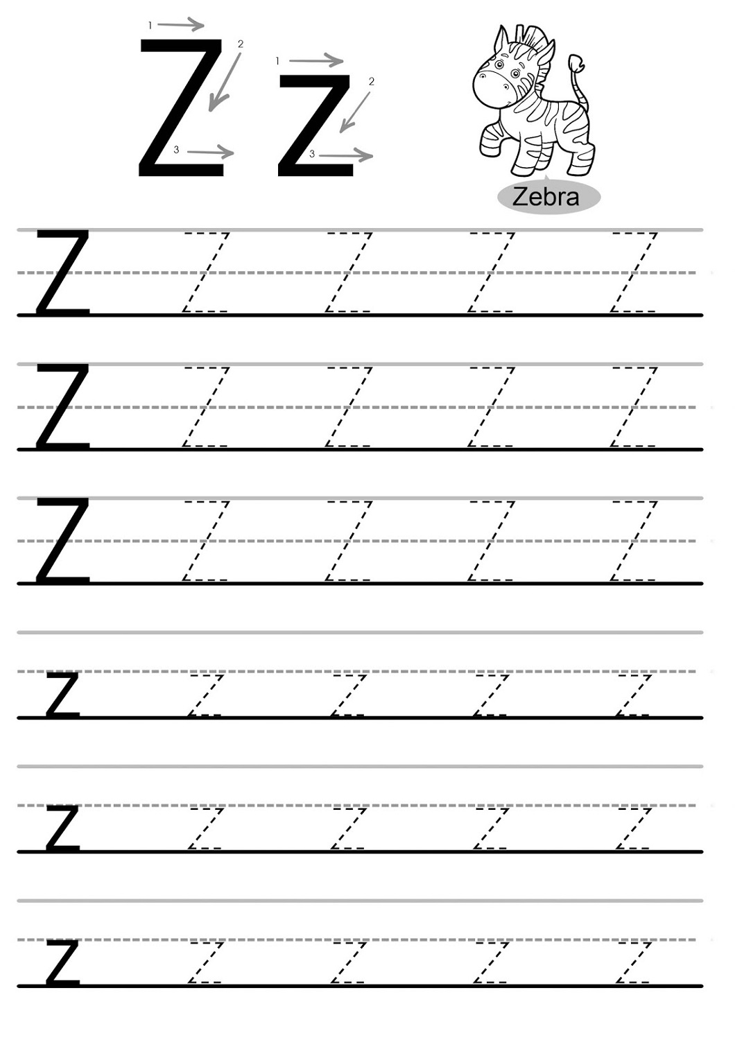 Letter Z Worksheets