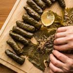 preparing dolmades greek vegan food