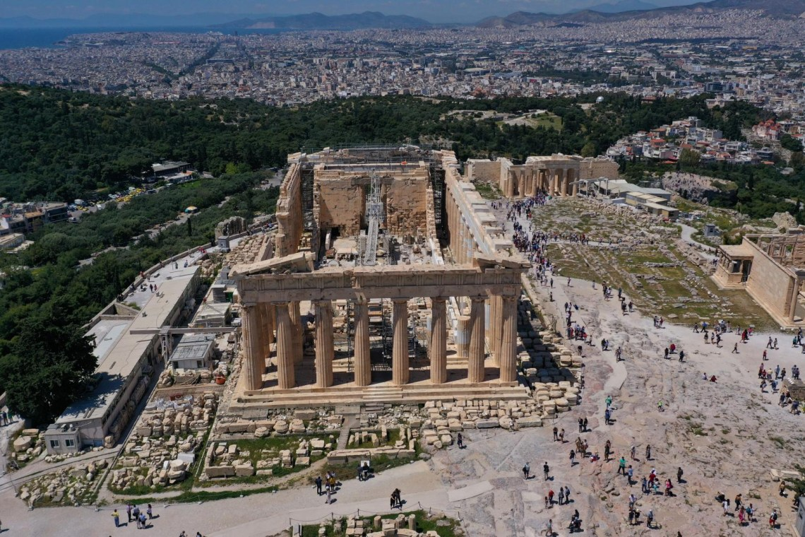 aerial view of Parthenon Athens