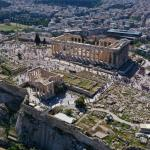 aerial of Parthenon Acropolis