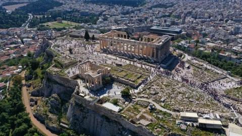 aerial of Parthenon