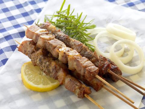 souvlaki skewed meet greek food
