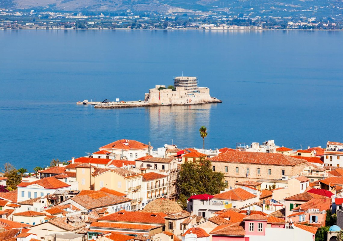 view of Bourtzi over rooftops Nafplio