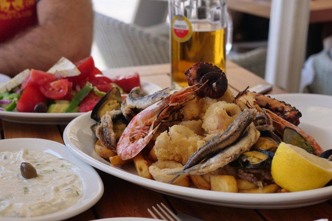 Greek seafood plates