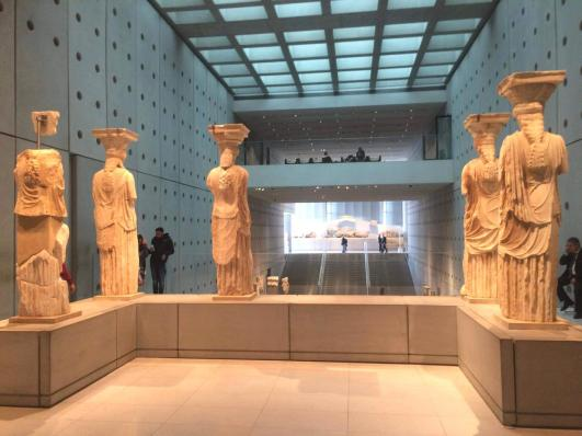 Karyatides statues in Acropolis museum Athens Acropolis museum family guided tour kids love greece Athens Percy Jackson Mythology Family Trip