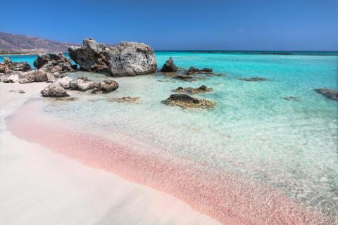 pink sandy beach at Elafonisi Chania