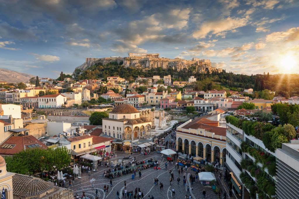 Monastiraki square view of Acropolis