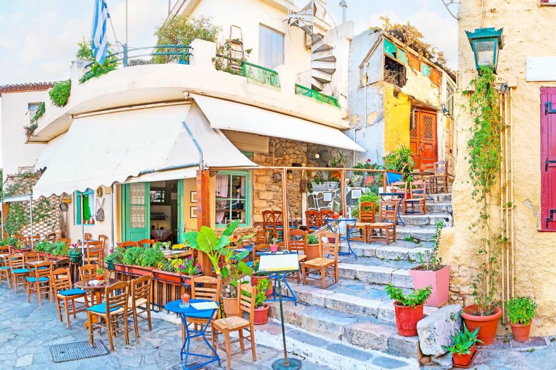 Plaka cafe at a narrow street