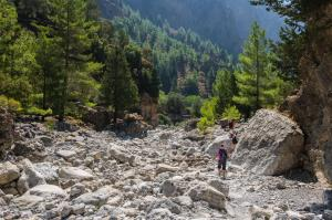 Samaria gorge tourist walking Chania