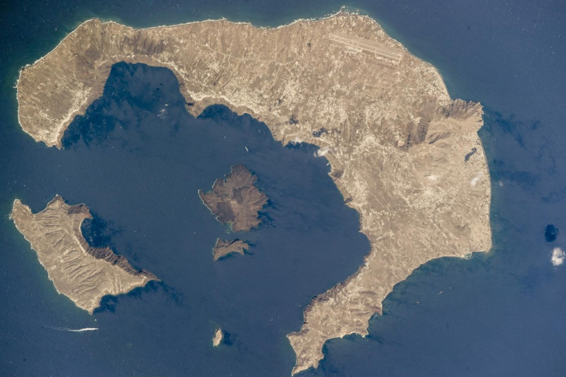 Santorini island satellite view
