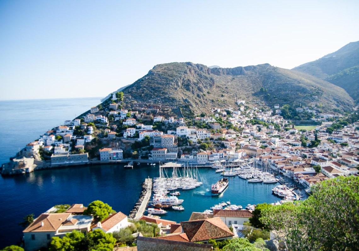 Hydra island port Kids love Greece