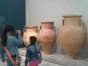 Kids in archeological museum of Heraklion shooting pictures