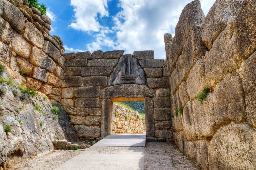 Entrance of Mycenae archeological site trip for families Kids Love Greece