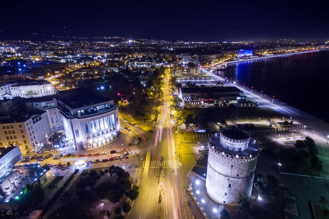 Thessaloniki night aerial view