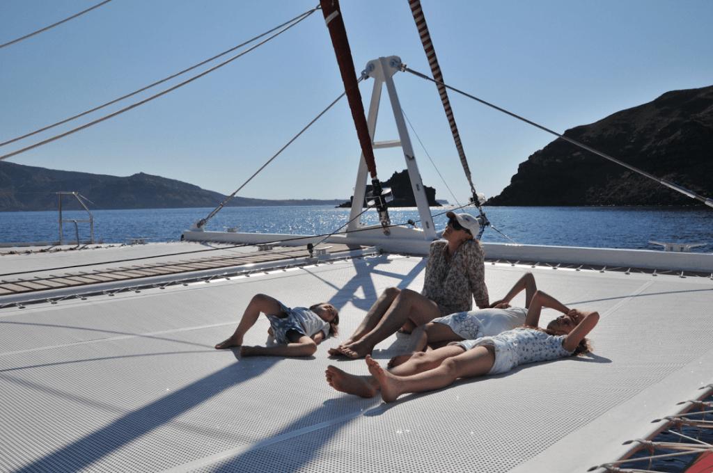 Santorini family sailing day tour kids love greece barbeque on board Ammoudi