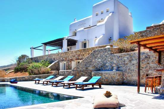 accommodation for families elegant family vacation villa in mykonos island the Agios Sostis residence Cyclades kids love greece