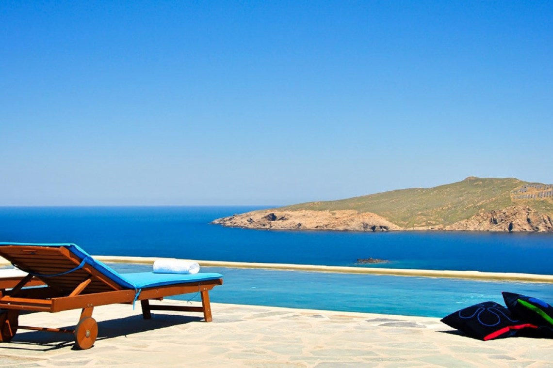 elegant family vacation villa in mykonos island the Agios Sostis residence Cyclades kids love greece accommodation for families