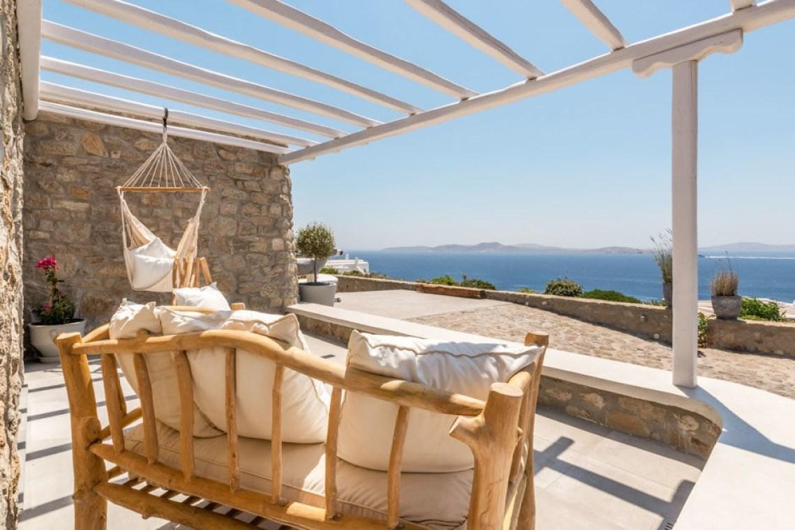 luxury bohemian family villa in Mykonos island accommodation for families Cyclades the Ioannou residence Agios Ioannis beach kids love greece